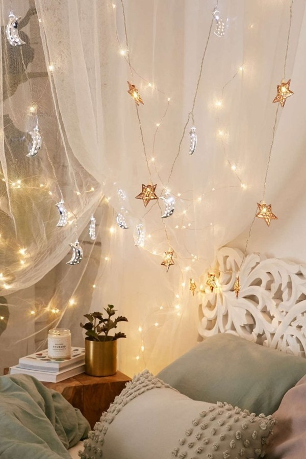 baldachin dekoideen mit lichterketten schlafzimmer