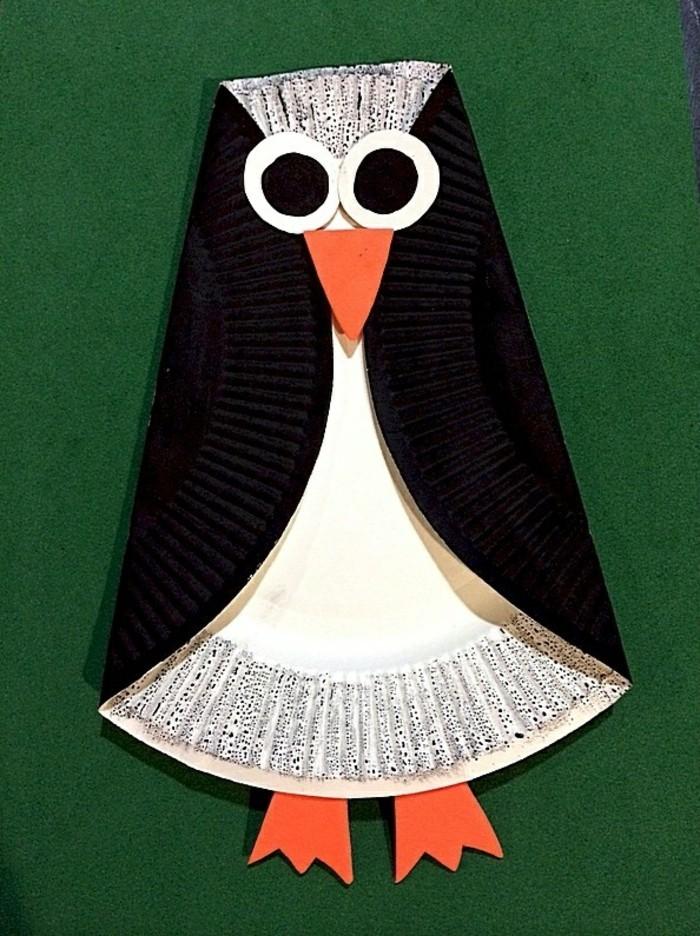 basteln mit papptellern pinguin machen