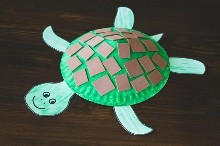 basteln mit papptellern schildkröte selber machen