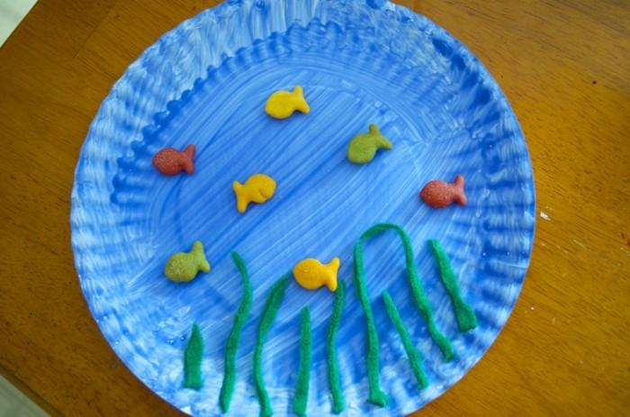 basteln mit papptellern unterwasserwelt kleinkinder ideen
