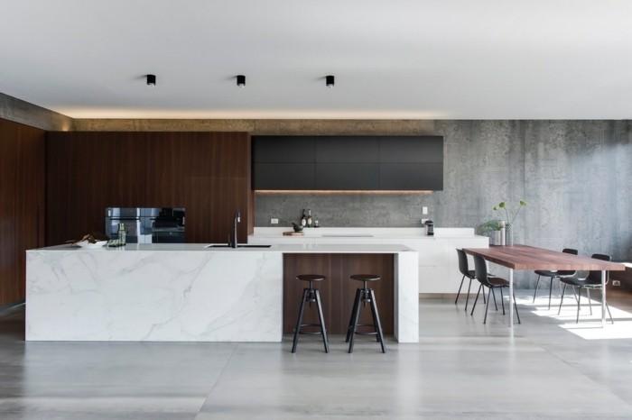 betonboden heller bodenbelag weiße küchenmöbel