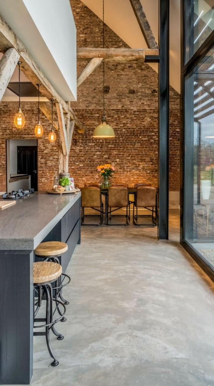 betonboden küche industrieller look graue küchenmöbel
