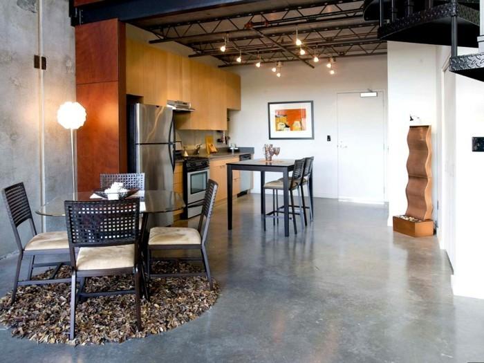 betonboden küche runder teppich essbereich