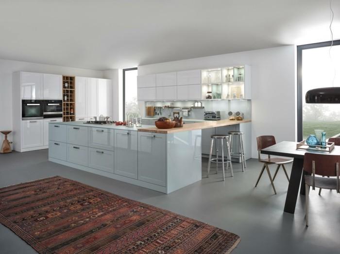 betonboden küche teppichläufer weiße wände