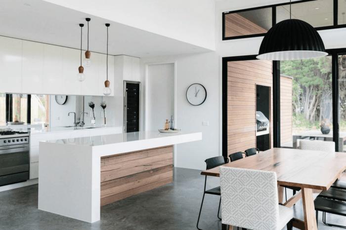 betonboden moderne kücheneinrichtung weiße wände