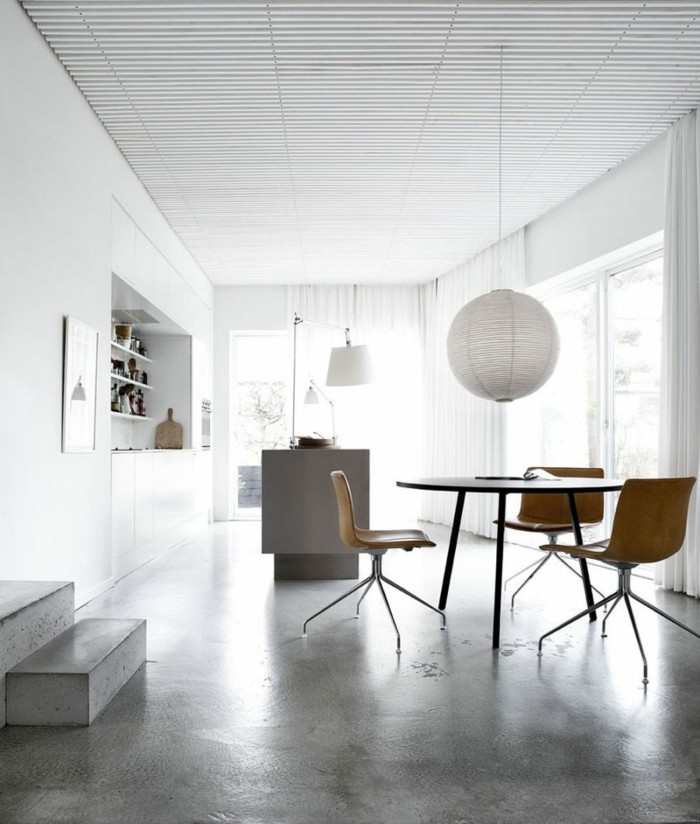 betonboden moderner essbereich polierter boden