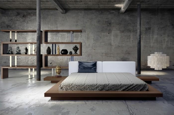 betonboden modernes schlafzimmer ausgefallene beleuchtung