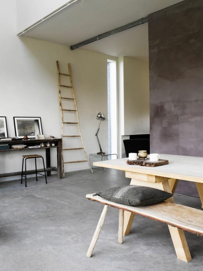 betonboden rustikaler essbereich holzmmöbel