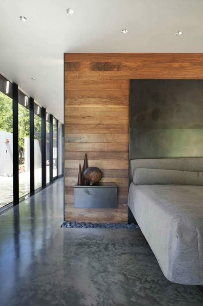 betonboden schlafzimmer schöne hölzerne akzente