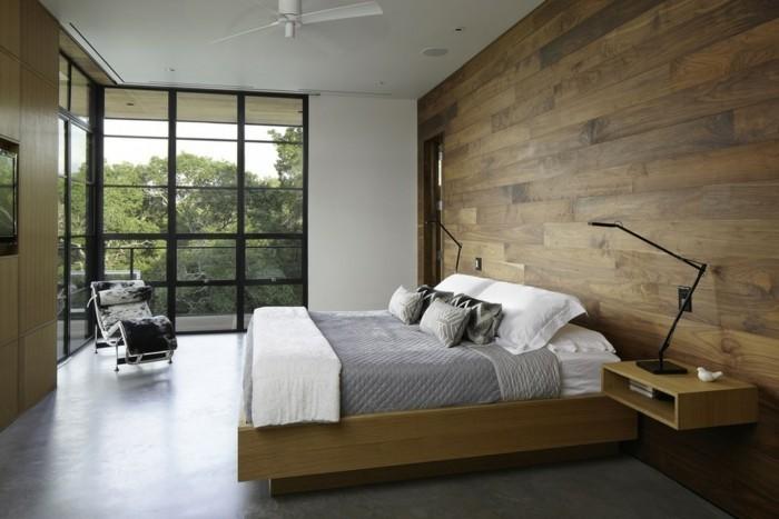 betonboden schlafzimmer wandverkleidung holz minimalistisch