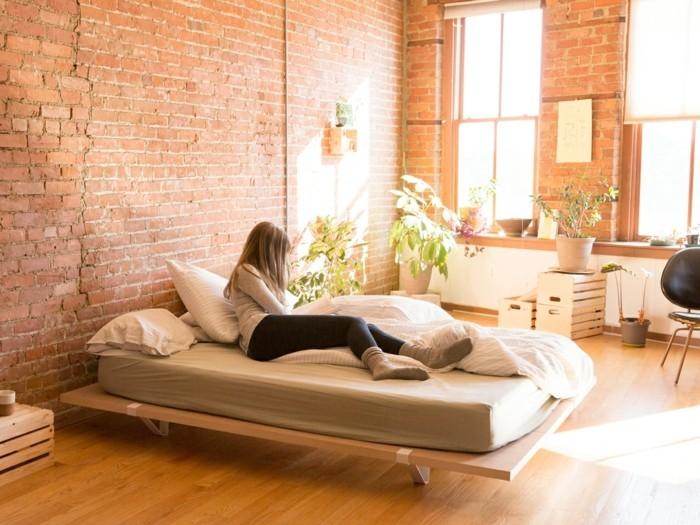 bett ohne kopfteil minimalistisches bett frisches schlafzimmerdesign
