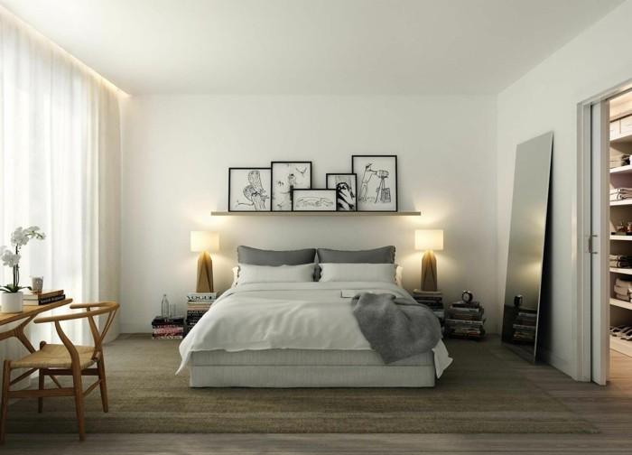bett ohne kopfteil schickes schlafzimmerdesign neutrale farben
