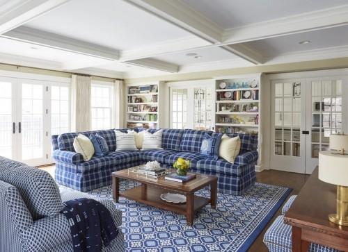 blau weißer teppich für wohnzimmer