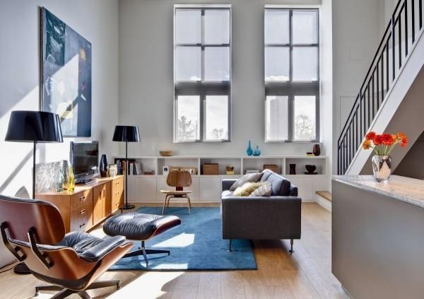 blauer teppich modern eames sessel deko trends 2018