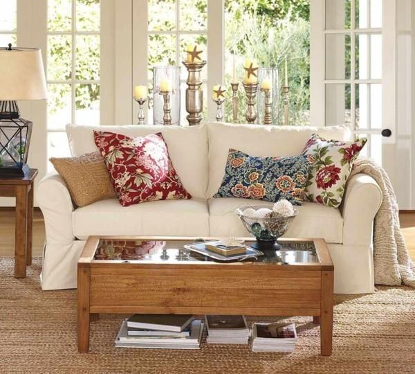 blumige muster dekokissen ideen wohnzimmer sofa