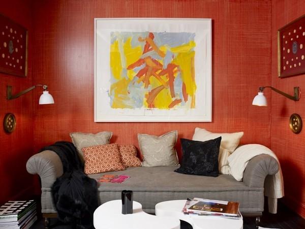 bunte farben muster dekokissen ideen rote wände