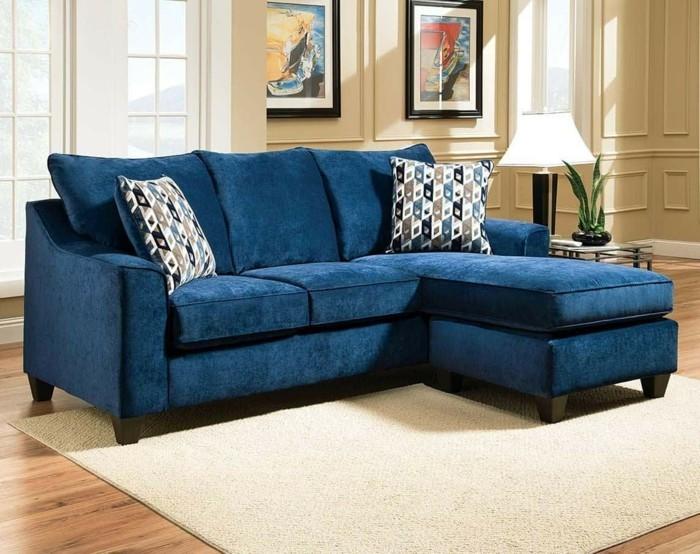 chenille sofa blau