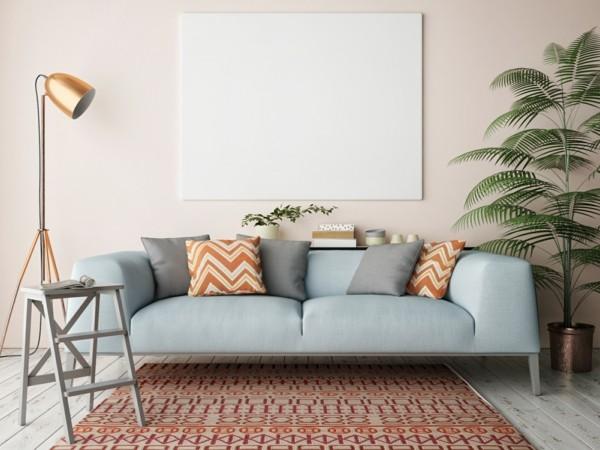 sofa leder moderner teppich deko trends