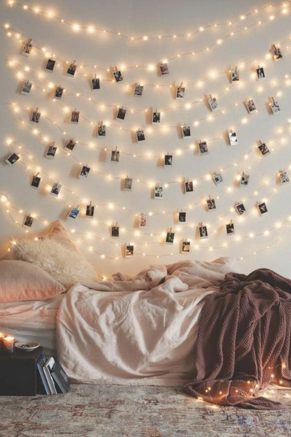 dekoideen mit lichterketten fotowand selber gestalten