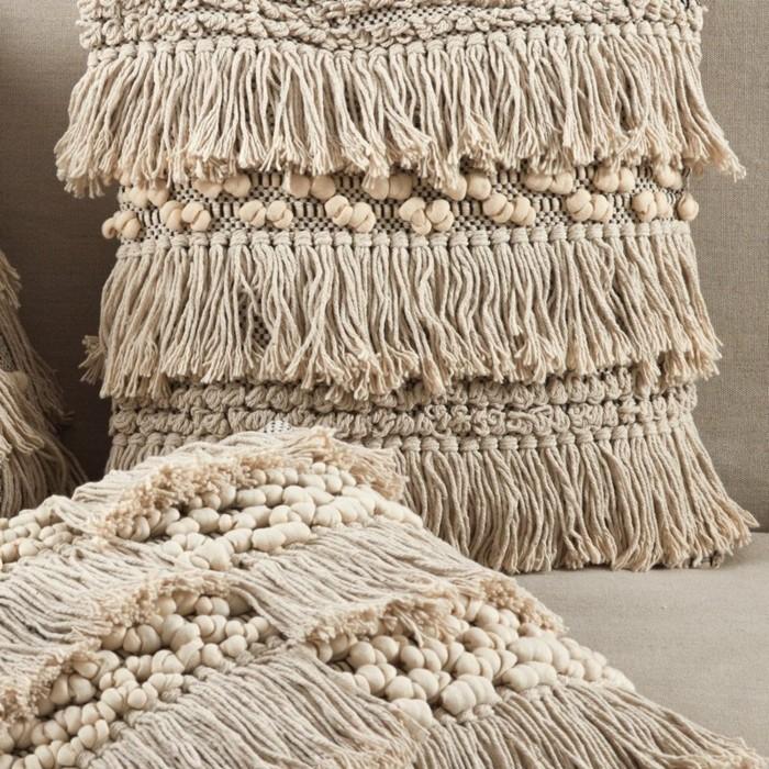 dekokissen fransen marokkanisch wolle boho style