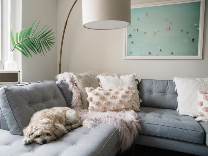 dekokissen mit fransen sofa grau hund bogenlampe