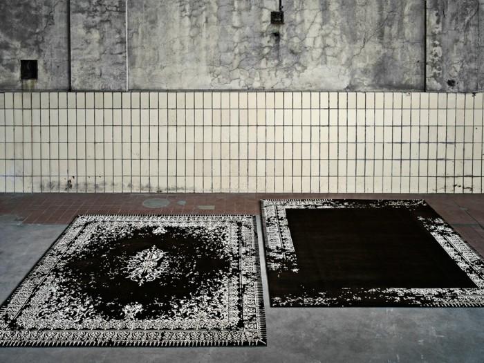 designerteppiche jan kath klassisches teppich in schwarz weiß
