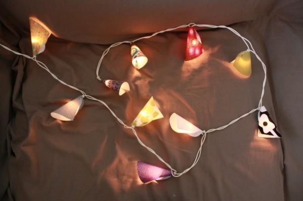 diy lichterketten dekoideen buntes geschenkpapier karton