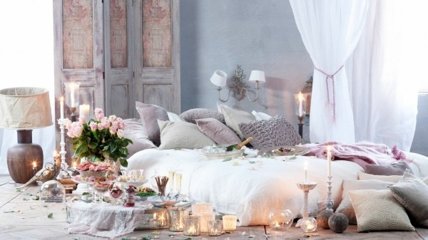 diy valentinstag dekoideen schlafzimmer blumen lichter