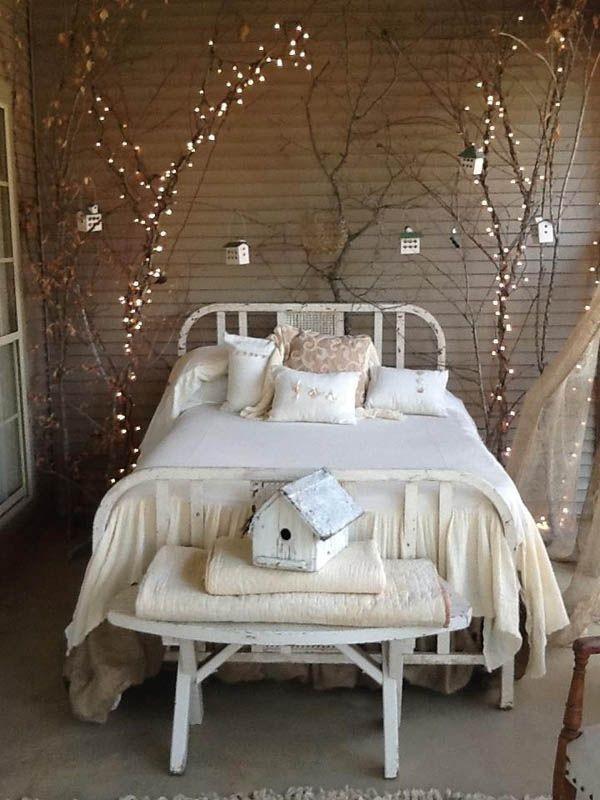 diy valentinstag schlafzimmer deko baumzweige lichterketten