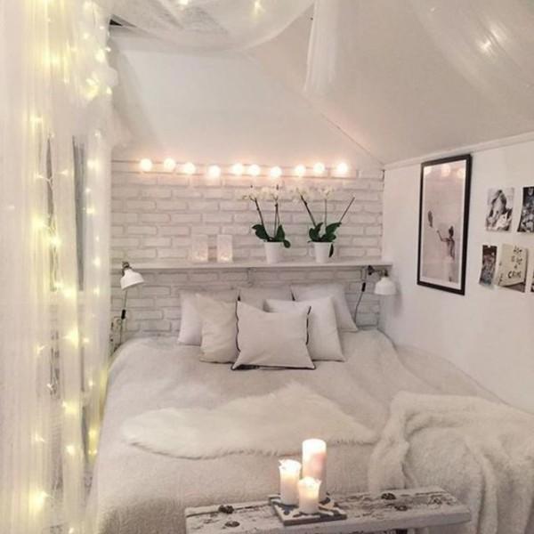 diy valentinstag weißes schlafzimmer dekorieren kerzen lichterketten