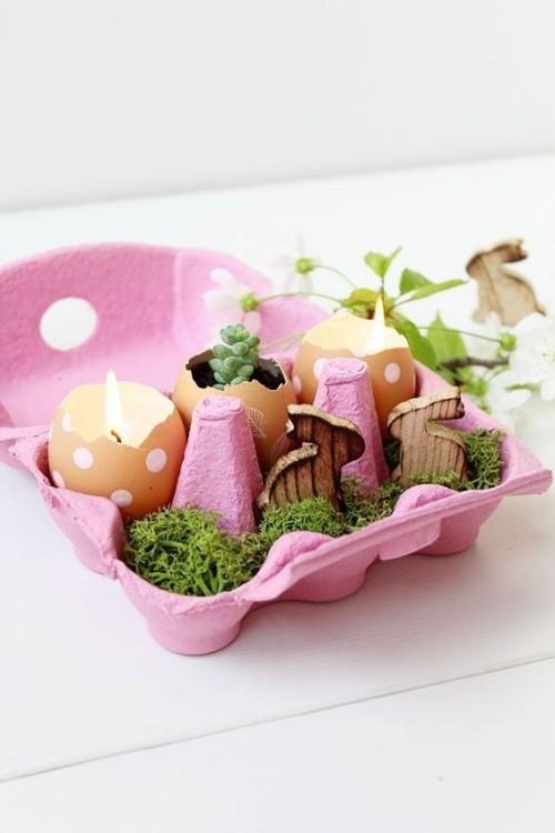 eierkarton rosa moos kerzen gießen ostereier kleine ostergeschenke