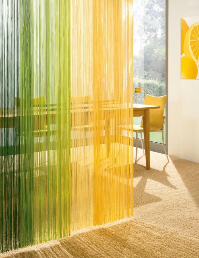 fadengardinen farbges design gelb grün