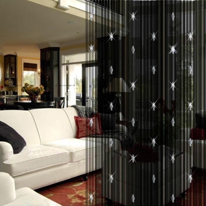 fadengardinen schwarz glitzernd wohnideen wohnzimmer