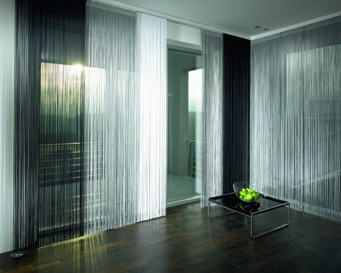 fadengardinen wohnraum dekorieren neutrale farben