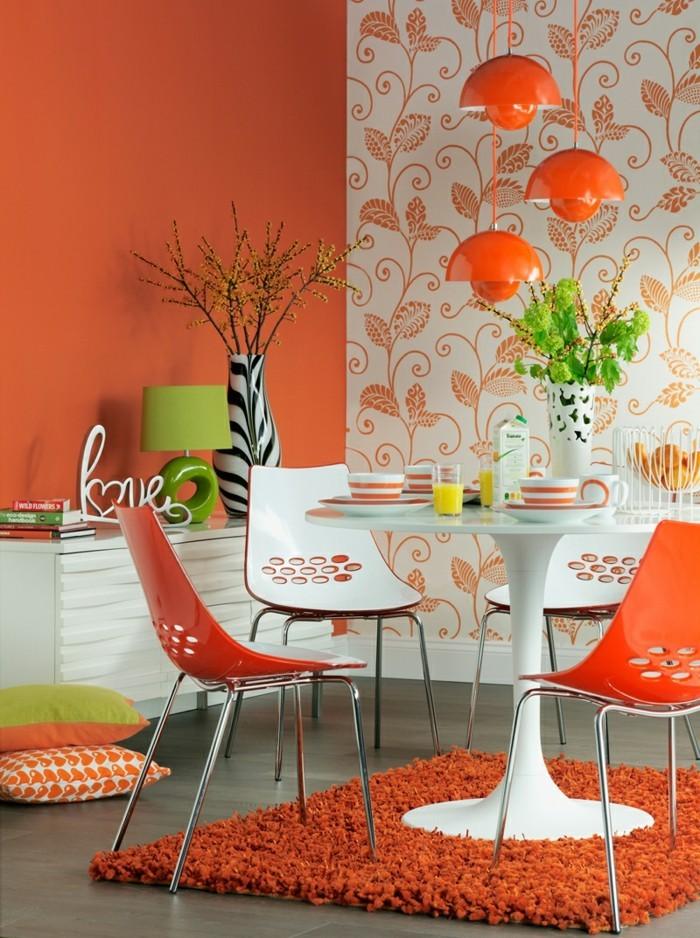 farbgestaltung tangerine trandfarbe mit mingruen