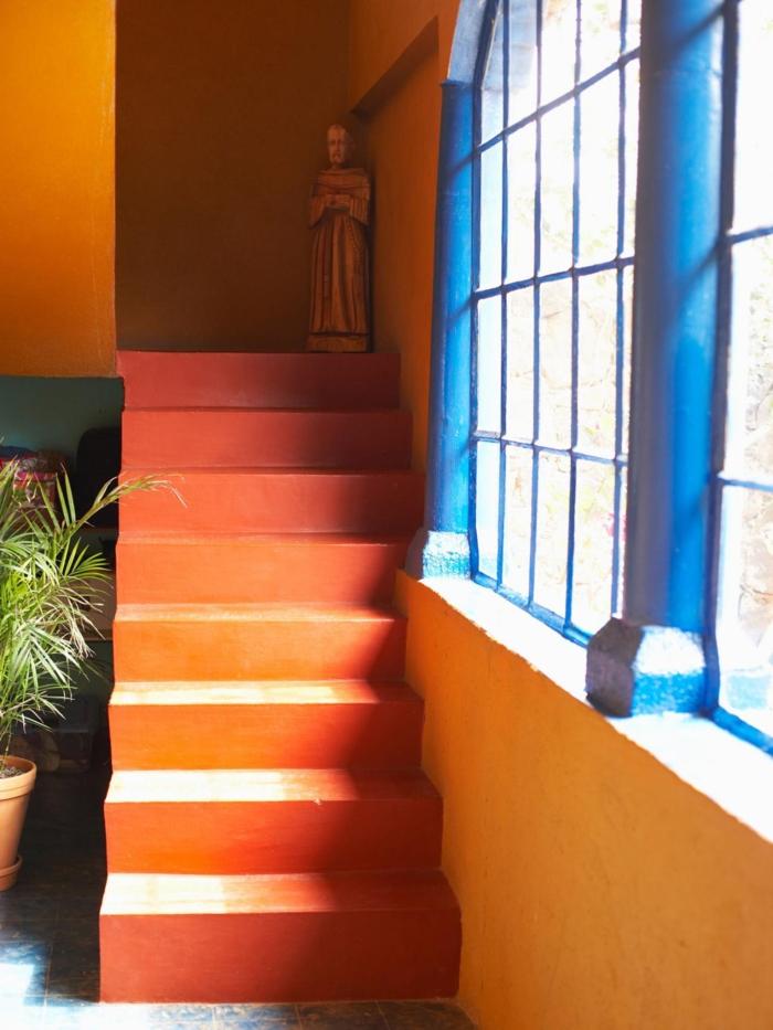 farbgestaltung tangerine trandfarbe muster schlafzimmer ideen farbpsychologie