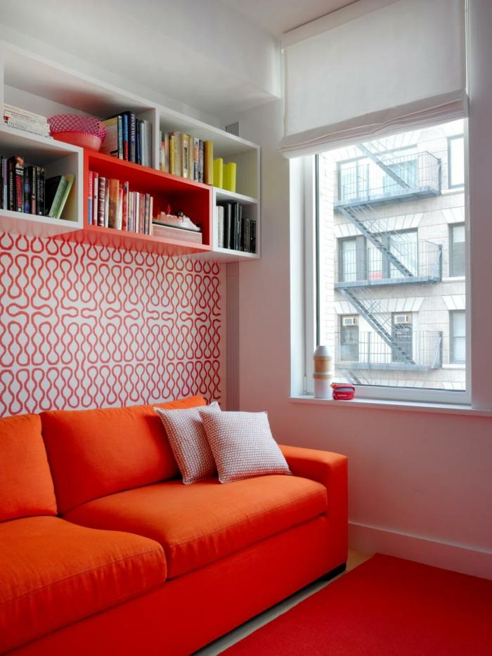 farbgestaltung tangerine trandfarbe muster schlafzimmer ideen fenster