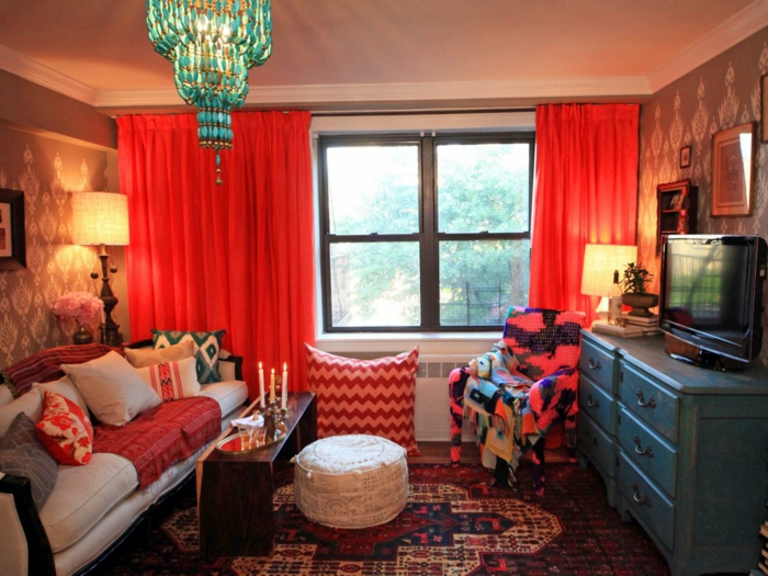 farbgestaltung tangerine trandfarbe muster schlafzimmer ideen leidenschaft