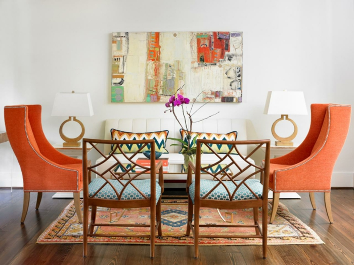 farbgestaltung tangerine trandfarbe muster schlafzimmer ideen mobiliar