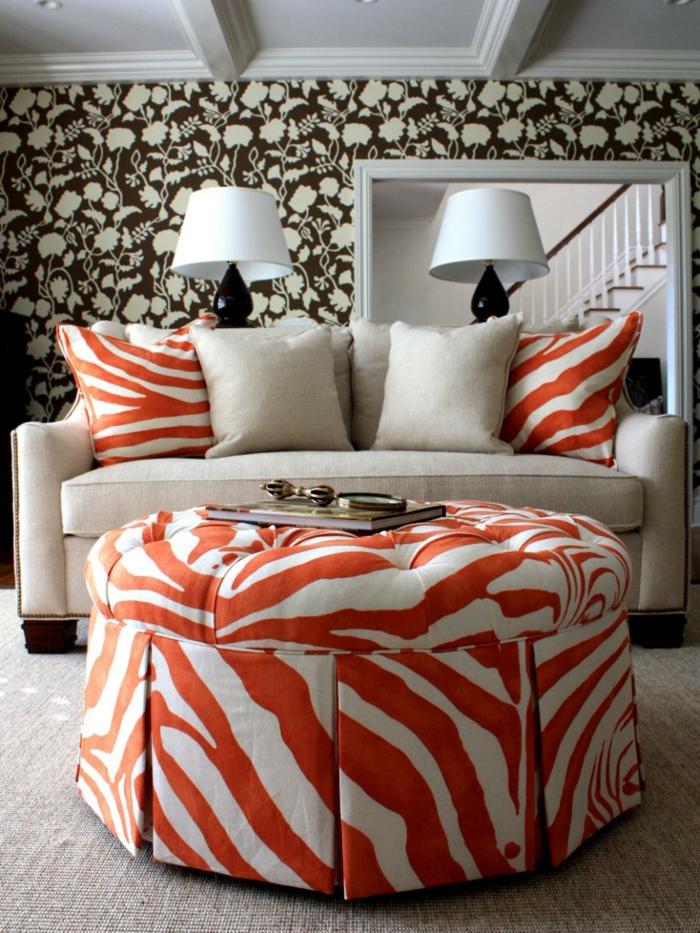 farbgestaltung tangerine trandfarbe muster schlafzimmer ideen. einrichtungsideen