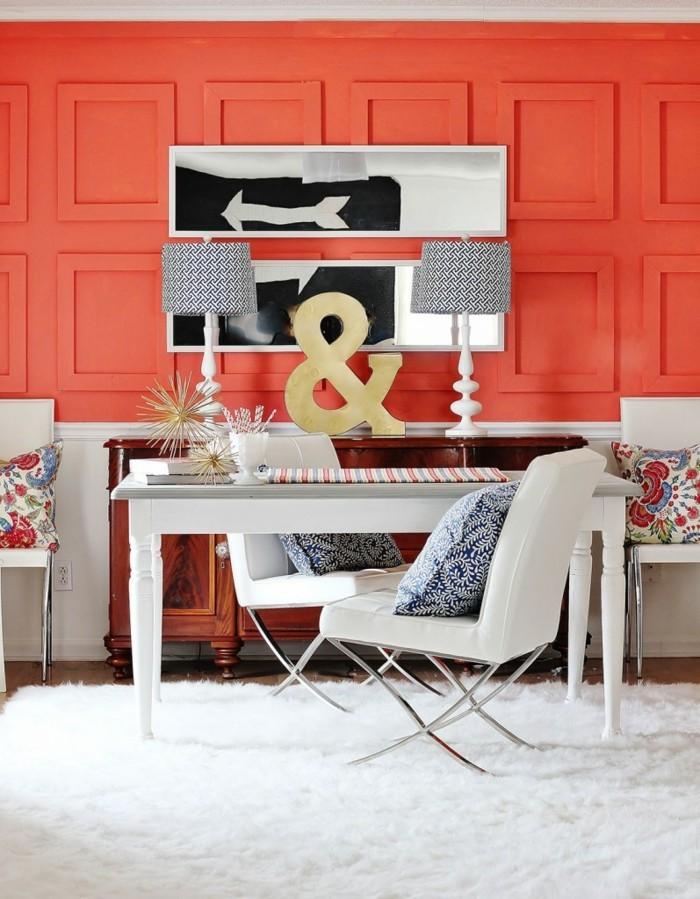 farbgestaltung tangerine trandfarbe orange badezimmer ideen design