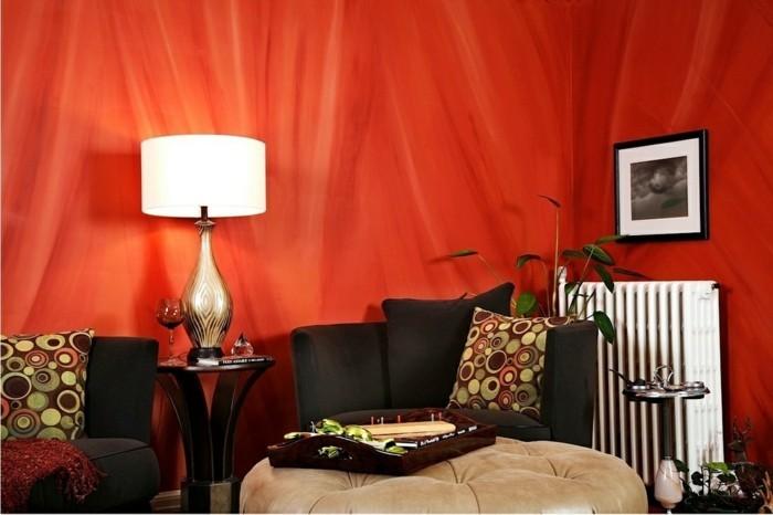 farbgestaltung tangerine trandfarbe orange badezimmer ideen kuschelig