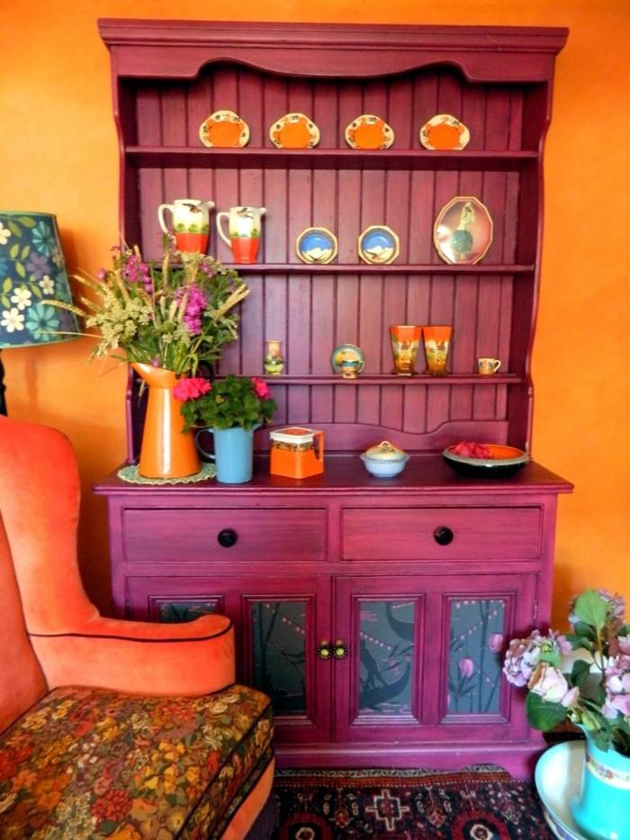farbgestaltung tangerine trandfarbe orange mit lila