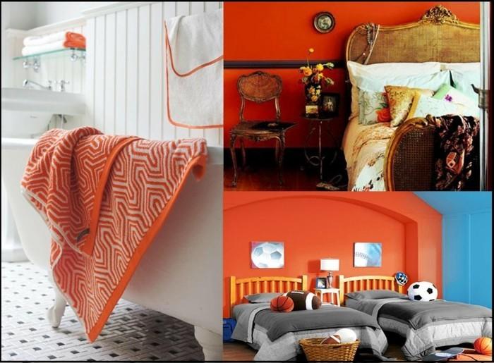 farbgestaltung tangerine trandfarbe sommer ideen 70er beispiele