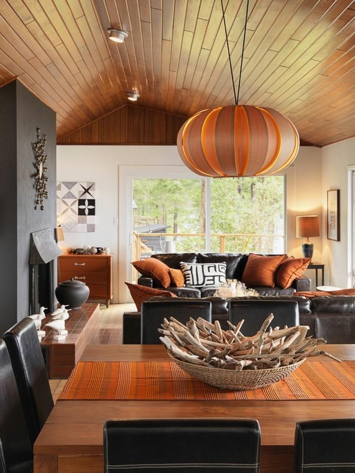 farbgestaltung tangerine trandfarbe sommer ideen holz bambus