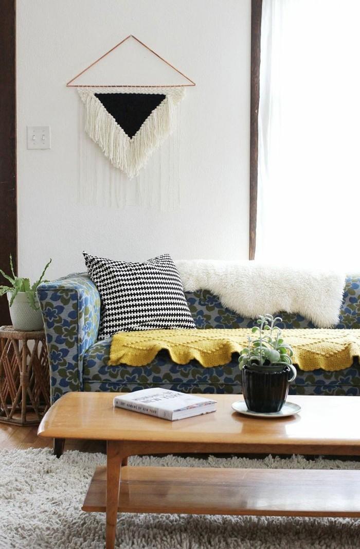fransen wanddekoration hochflor teppich wohnzimmer