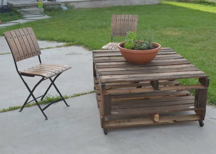 gartenmoebel aus paletten tisch und stuhl
