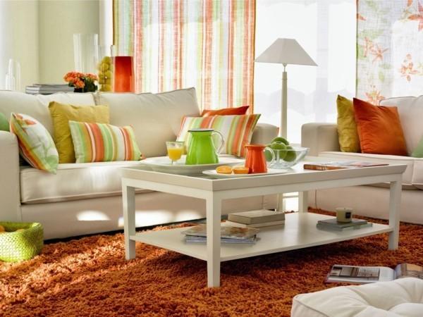 grün gelb orange dekokissen ideen wohnzimmer