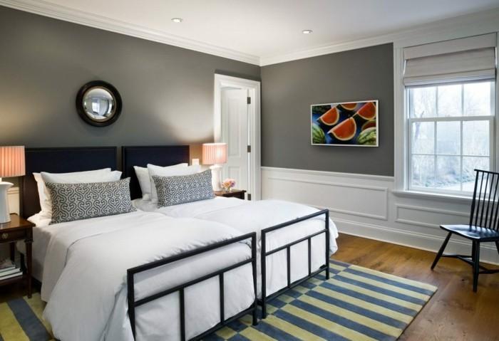 graue wände schlafzimmer farben bettwäsche gestreifter teppich