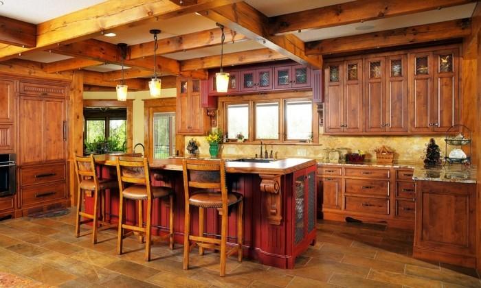 holzküche große küche rustikal rote kücheninsel